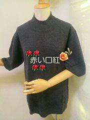 3L〜・大きいsizeプレーン・ハイネック半袖セーターグレー