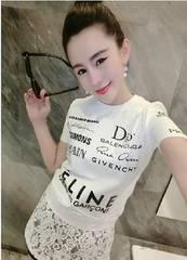 レース パロディ Tシャツ ワンピース 白 ロゴTシャツ