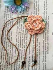 ハンドメイド ネックレス オレンジミックス axes好き お花 バラ