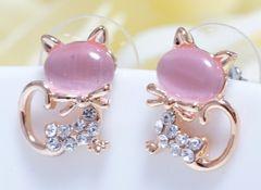 18KRGPゴールド高級CZピンク石猫ちゃんピアス gp4989