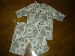 新品SHELLACシェラック半袖セットアップ46花柄ショーツシャツ