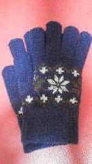 新品雪柄もこもこニット手袋