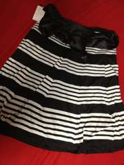 w76未使用ボーダースカート清楚白黒リボン日本製jinneeジニー大きいサイズ