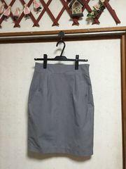 バックリボン付きタックタイトスカートLグレーコクーンスカート