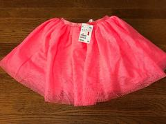 新品H&Mガールズラメ可愛いスカート蛍光ピンク110-120cm