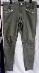 未使用大きいサイズ H&M バルマン風デザインパンツ 12レディース オリーブ色