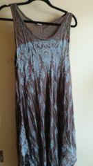 ■超美品ブラウン×ブルーペイズリー柄裾変形アジアンマキシ■