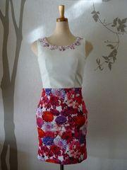 S ドレスワンピース Jewels ピンク系花柄 ノースリ 新品 J16345