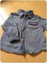 青×白チェック/長袖シャツ/90�p