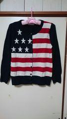 ジーナシス 星条旗柄カーディガン アメリカ国旗 Mサイズ程度