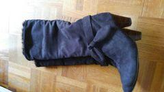 送料込み*2wayロングブーツ黒 リボンストラップ