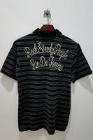 †10ssワコマリア英文字メッセージ刺繍ボーダーポロシャツ