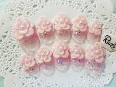 RADY/ピンクのお花/ショートオーバル/3Dネイルチップ