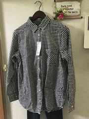 XL☆ユニクロフランネル黒ギンガムチェックシャツ