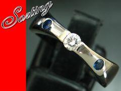 良質ダイヤモンド サファイア プラチナ pt900 12.5号★3126
