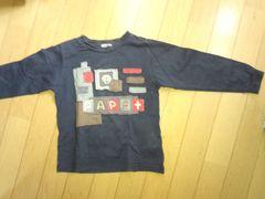 紺色の長袖シャツ【110�a】