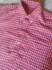 シュガーケーン☆赤白プルオーバー硬めパイル半袖シャツ:美品:L