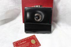 Cartier カルティエ ガマ口二つ折り財布 黒 パンテール