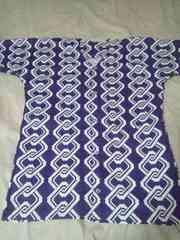 ☆新柄紫×白子持吉原柄大人用ダボシャツM
