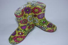 可愛い♪フラワースマイル柄子供用キッズレインブーツ/長靴17cmお花