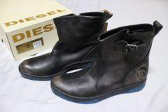 即決 新品タグ付 イタリア DIESEL 本革 ブーツ 43 ブラック