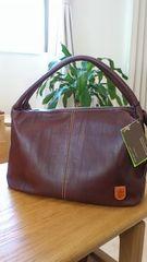 新品タグつき*リアルレザー/本革トートバッグ チョコ色 日本製 ナチュラル系