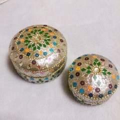 インド製*キラキラモザイクシルバー小物入れセット*新品未使用