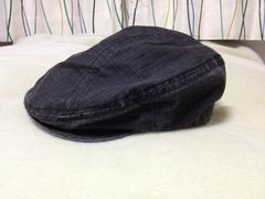春秋用 ハンチング ブラック格子柄 58cm 帽子 黒