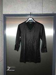 5351プールオム/艶々素材七分袖カットソーTシャツ/ブラック3