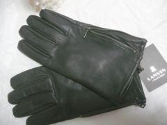 LANVINランバン黒羊革手袋サイドジッパー24サイズM相当