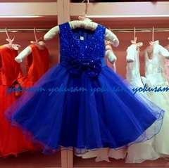 新作★150★ロイヤルブルーの豪華スパンコールとリボンのドレス
