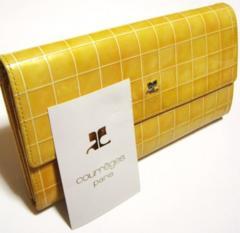 クレージュ/Courreges 革製タイルチェック柄長財布
