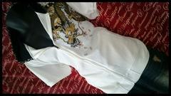 和柄龍×桜半袖パーカー 新品白XXL(3L/i-604