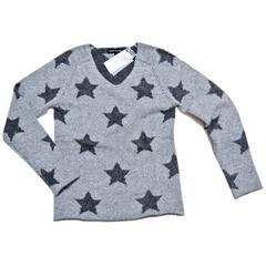 新品ESTHEME CACHEMIREパリ発カシミア100%星柄セーター グレー