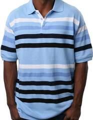 新品★即決★セール★ブルー×ホワイト★ボーダー半袖ポロシャツ★Lサイズ