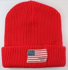 アメリカ国旗 ロゴいり ニット帽子 サイズフリー レッド