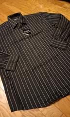 LA GATEストライプ 長袖シャツ黒水色ラインサイズ4XL→3XL位�B�D