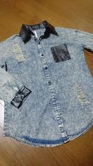 大きいサイズ☆ケミカルウォッシュ/ダメージシャツ