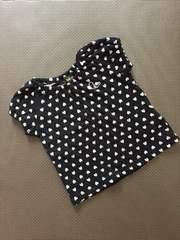 80センチ☆黒半袖Tシャツ☆ピンクハート☆