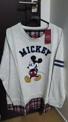 新品*大きいサイズ*LL*ミッキー*裾チェックシャツ*重ね着風カットソー*