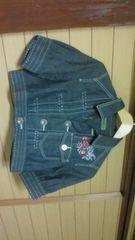 スーパーハッカSUPER HAKKA胸元刺繍デザインデニムジャケット