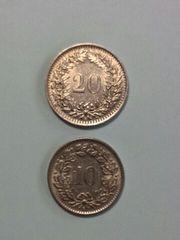 スイス 20サンチーム 10サンチーム硬貨 1969年 2枚