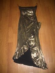 新品★ロングドレス【薔薇★ゴールド
