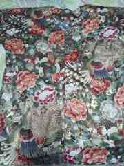 ☆新柄緑×牡丹孔雀金彩柄ダボシャツ2L