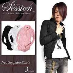 Session シワ加工クリンクルシャツ 新品 ブラック