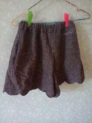 短期used美品♪メゾピアノ♪秋冬物キュロットスカート♪ブラウン系150