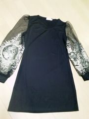 XLサイズ ゴールド刺繍袖 チュニックワンピース