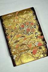 千鳥294*こげ茶に金箔 花鳥柄 上品な袋帯 美品