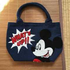 定形外込。しまむら×ディズニー・サガラ刺繍バッグ。ミッキー青