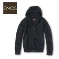 ‐ENOS‐イタリアスタイル★ウールニット*ジップパーカージャケットダークグレーL